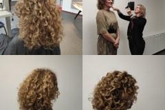 Cynthia met model Annemiek tijdens de Global curl krulkniptraining
