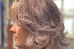 Sandra na de behandeling met Alter ego silver maintain shampoo en conditioner